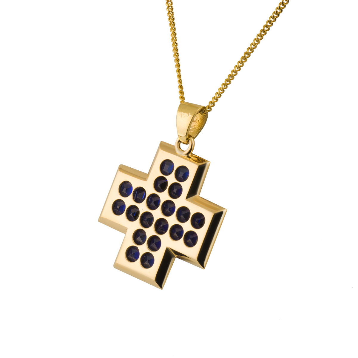 Yellow Gold Sapphire Pendant 2.60ct